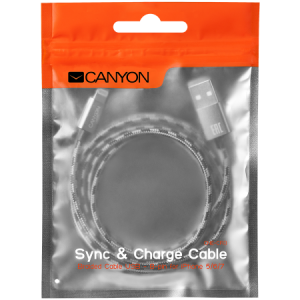 Кабел Canyon Lightning USB Cable for Apple braided CNE-CFI3DG