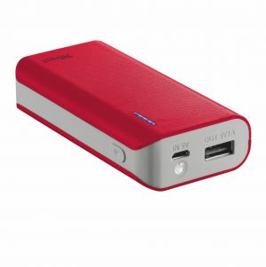 Външна батерия, TRUST Primo Power Bank 4400 Portable Charger - red